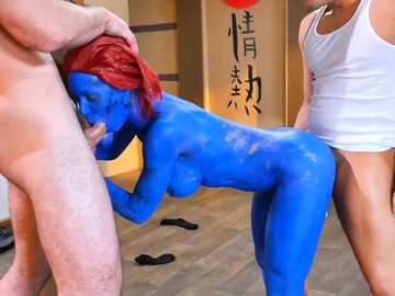 X-Men porn scene with Nicole Aniston exposes the busty redhead in threesome