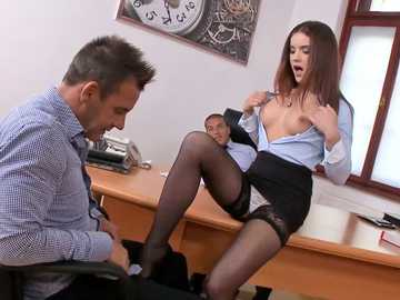 European babe with medium breasts Evelina Darling has wild sexual experience in the office